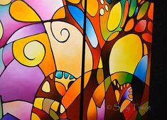 Original abstract geometric landscape painting acrylic