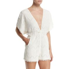 6 Shore Road by Pooja La Paz Tie-Back Lace Romper (1,475 GTQ) ❤ liked on Polyvore featuring jumpsuits, rompers, moonlight white, white lace romper, plunge romper, v neck romper, lace romper and white rompers