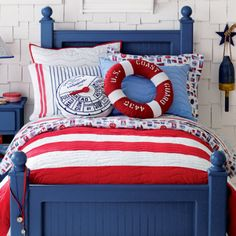 I have this bed in my twins room. They are white but really like the blue with the red and white and buoy on the wall.