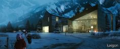 """OPPENHEIM - Swiss chalet rendered by luxigon (this is too big to be a """"cabin"""" but inspirational anyway)"""