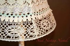 Vintage lace lampshade...I love that she used different trims instead of just one piece of lace.  Beautiful and nice tutorial.