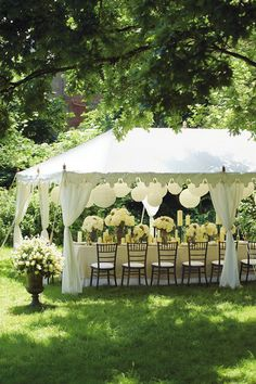 """Brides who dream about an outdoor wedding will often reserve a big white wedding tent """"just in case it rains.Decor Ideas · Rustic night wedding tent reception under the stars. Wedding Tent Decorations, Garden Decorations, Deco Champetre, Wedding Events, Wedding Locations, Wedding Inspiration, Wedding Ideas, Wedding Simple, Wedding Pictures"""