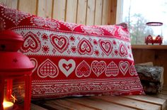 Red and white pillowcover  Scandinavian by travelingpillow on Etsy, $33.50