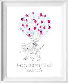 Baby Shower Birthday Guest Book, Fingerprint tree guestbook alternative