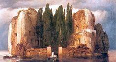 """""""L'isola dei morti"""", quinta versione, Arnold Böcklin, 1886; colori a vernice su legno, 80,5x150 cm; Museum des blindenden Kunste, Lipisia."""