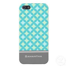 i Phone 5 Teal Mint Pattern Custom Name Cover For iPhone 5