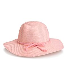 Check this out! Hat in braided paper straw containing glittery threads with a braided imitation suede band with a bow. Width of brim 7 cm. - Visit hm.com to see more.