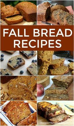 """FALL BREAD RECIPES -- Nothing says """"FALL"""" quite like a loaf of Pumpkin Bread! Or maybe it's Apple Cider Bread - or Zucchini Bread! No matter which one is your favorite, you will love these Fall Bread Recipes!"""