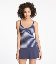 LL Bean.  Top and skirt sold separately.  Summer Harbor Swimwear, Tankini Top Stripe