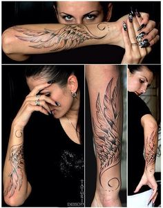 Forearm wing tattoo