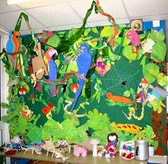 Jungle animal bulletin board idea for kids Happy animals There is an enormous rainforest and there are many [. Rainforest Classroom, Rainforest Crafts, Rainforest Project, Rainforest Activities, Rainforest Theme, Rainforest Animals, Jungle Animals, Jungle Activities, Amazon Rainforest