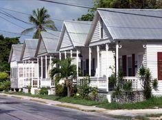 "Florida Memory - Row of Key West ""Shotgun"" style conch houses on Truman Avenue."