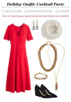 Holiday Outfit Cocktail Party - an excuse to wear bold colors and layered accessories!