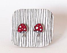 Toadstool earrings mushrooms Amanita muscaria, fly agaric or fly amanita shrink plastic