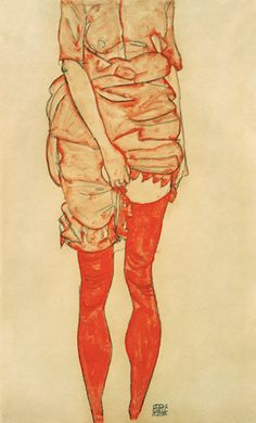 Egon Schiele-Stationary Woman in Red