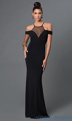 Shop floor-length black formal dresses and ball gowns at Simply Dresses. High neck illusion dresses and off-the-shoulder formal evening gowns.