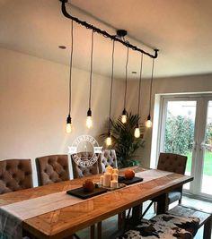 The Burnham 6 X Pendant Drop Light Hanging Lights Ceiling Dining Room Retro Kitchen Table E27 Vintage Edison Screw Filament