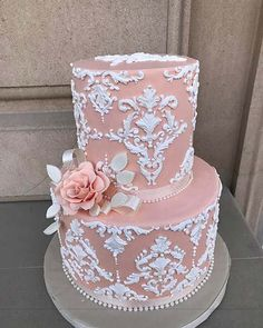 23 Stunning Spring Wedding Cakes to Inspire: #14. ELEGANT PINK AND WHITE PATTERN CAKE; #springwedding; #weddingcake