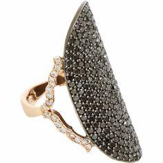 Sara Weinstock Pave Black Diamond & Rose Gold Saddle Ring