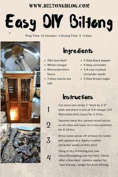 Easy recipe and directions for making healthy organic delicious biltong at home. How to make authentic South African tasting biltong and dry wors. South African Dishes, West African Food, South African Recipes, Jerky Recipes, Beef Recipes, Cooking Recipes, Yummy Recipes, Yummy Food, Kos
