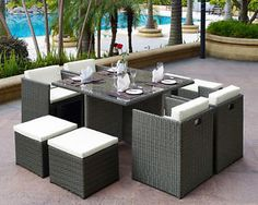 Enjoy farm-fresh dinners under the stars or relaxing Sunday brunches with this stylish dining set, perfect for the patio or lanai. The set includes 4 chairs and 4 ottomans along with a metal and resin Round Outdoor Table, Outdoor Dining Set, Patio Dining, Outdoor Living, Dining Chair, Dining Tables, Dining Area, Outdoor Dining Furniture, Garden Furniture Sets