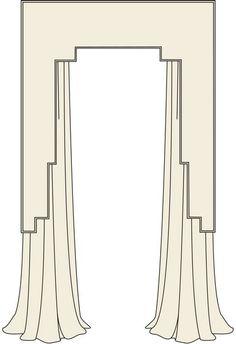 Art Deco Pelmet/Cornice and Drapery Traditional Window Treatments, Traditional Windows, Casa Art Deco, Art Deco Curtains, Window Cornices, Valances, Art Deco Living Room, Architecture Design, Art Deco Bathroom