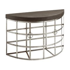 Baxter Console Table, Half Moon Shape, Cement Finish / Rustic Iron Frame