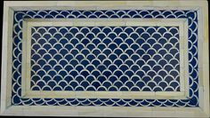 Designer blue bone inlay rectangle tray, stunning peice, fish design