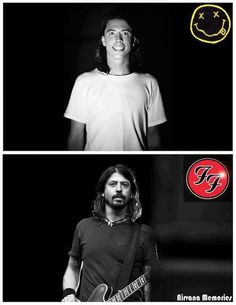 dave grohl in nirvana and dave grohl in the Foo Fighters like a fine wine Foo Fighters Dave Grohl, Foo Fighters Nirvana, Music Love, Music Is Life, Rock Music, Nirvana Lyrics, There Goes My Hero, Taylor Hawkins, Nirvana Kurt Cobain