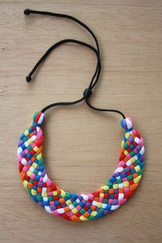 Rainbow Woven Upcycled Statement Collar Necklace by Coalesced, $45.00