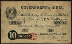 An Exceptional Rupees 10 note of June 1863 issued by Government of India, Signed by J. Ballard, Commissioner, having serial number. History Classroom, History Education, History Of India, Ancient History, History Books, Family History, Black History Quotes, India Independence, Vintage India