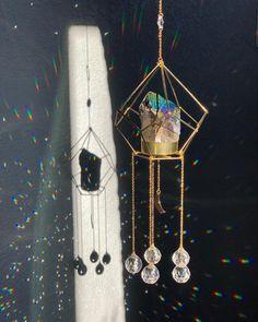 Crystal Drawing, Titanium Aura Quartz, Crystal Guide, Crystal Decor, Sun Catcher, Wire Art, Bohemian Decor, Mobiles, Wind Chimes