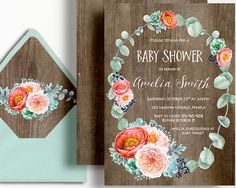 Peony Baby Shower Invitation Wood Rustic Succulent Peach Coral Mint Peach Watercolour by WestminsterPaperCo