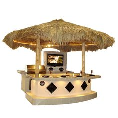 The Coronado BBQ Island with Palapa is the ultimate in outdoor grilling. This piece offers all you could ever need to entertain guests outdoors including a television and stereo as well as a high quality Jenn Air grill, 2 refrigerators, a bottle opener and convenient steel drawers.