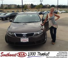 #HappyAnniversary to Sheri  Crandall on your 2013 #Kia #Forte from Brandon Amendosn at Southwest Kia Mesquite!
