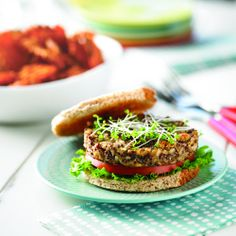Get your whole grain fix with this delicious, hearty oven-baked burger. One serving has of the daily recommended value of whole grains! Oven Baked Burgers, Mushroom Quinoa, Vegetarian Menu, Brown Rice, Salmon Burgers, Diabetes, Grains, Stuffed Mushrooms, Death