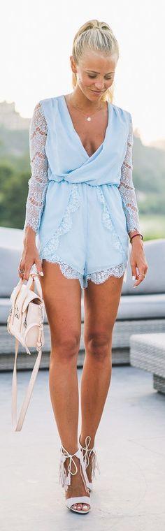 Janni Deler Baby Blue Lace Romper #Fashionistas