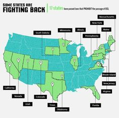 Map of states fighting BSL (Breed Specific Legislation)