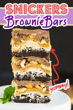 Snickers Brownie Bars - Rich, fudgy brownies are topped with a fluffy nougat, creamy caramel, crunchy peanuts, and dark chocolate. Snicker Brownies, Fudgy Brownies, Brownie Bar, Peanuts, Caramel, Chocolate, Dark, Cake Cookies, Treats