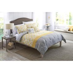 Better Homes and Gardens Yellow and Gray Medallion 5 Piece Bedding from Yellow And Blue Bedding SetsYellow and Blue Bed Grey Walls Living Room, Grey Room, Gray Bedroom, Trendy Bedroom, Bedroom Decor, Bedroom Yellow, Bedroom Ideas, Master Bedroom, Coastal Bedrooms