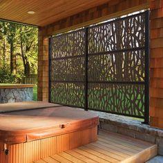 health fitness - 75 Easy Cheap Backyard Privacy Fence Design Ideas DecorEditor com Hot Tub Privacy, Privacy Screen Outdoor, Backyard Privacy, Deck Privacy Screens, Decks With Privacy Walls, Hot Tub Deck, Hot Tub Backyard, Backyard Patio, Backyard Landscaping