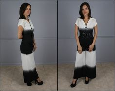 Vintage 70s Ombre Jumpsuit Black and White by ForeverAfterVintage, $89.99