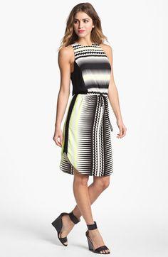 Vince Camuto Belted Print Shift Dress