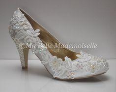 Zapatos de boda de encaje marfil zapatos de por MademoiselleShoes