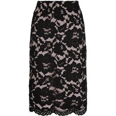 Jacques Vert Opulent Lace Pencil Skirt ($55) ❤ liked on Polyvore featuring skirts, clearance, scallop hem skirt, floral print skirt, flower print skirt, scalloped pencil skirt and knee length skirts