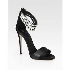 Giuseppe Zanotti Satin & Suede Crystal-Encrusted Ankle Strap Sandals ($1,350) ❤ liked on Polyvore