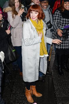 POPSUGAR Celebrity- Carly Rae Jepsen with her chic new short hair and grey coat..:)  #carlyraejepsen #celebrity #style #fashion #trends