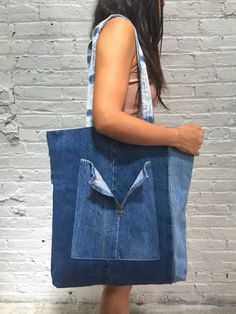 upcycled denim tote bag / reconstructed by dustyrosevintage