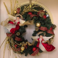 Christmas Wreath, Angels Wreath,Front Door Wreath, Winter Decoration, Living Room Wreath, Holiday Decor. Sell on Etsy.