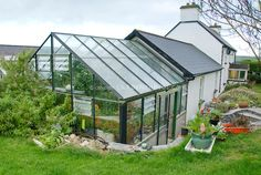Glasshouse and farm house, Joy Larkcom's garden, Ireland | Plant ...